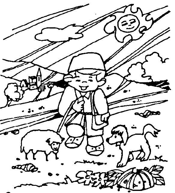 Pastor de ovejas para colorear - Imagui